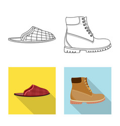 Isolated object of shoe and footwear sign set of vector
