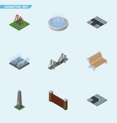 isometric city set of dc memorial seesaw vector image