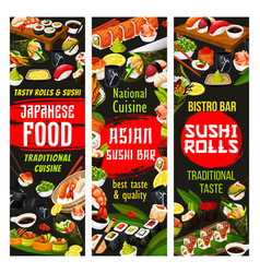 Japanese cuisine sushi and rolls with sauce vector