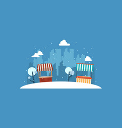 Landscape of street stall with city backgroud vector
