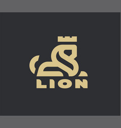 lion king linear logo on a dark background vector image