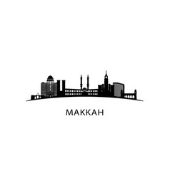 Makkah city skyline black cityscape vector