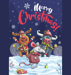 Merry christmas funny deer bull mouse vector