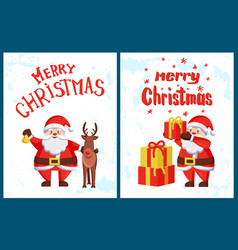 merry christmas lettering santa claus deer helper vector image