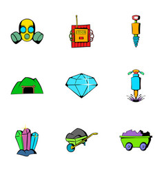 mine equipment icons set cartoon style vector image