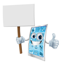 Mobile phone mascot holding sign vector