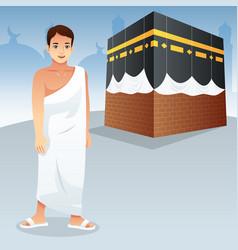 Muslim man in front of kaaba vector