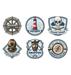 Nautical retro badge of sea anchor helm and rope vector