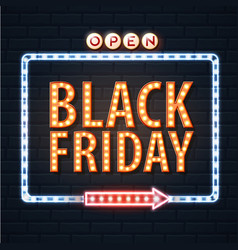 neon sign black friday open on brick wall vector image