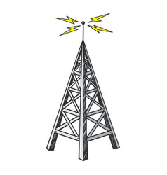 Old radio tower color sketch engraving vector
