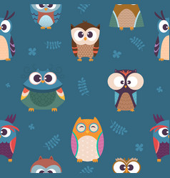 Owl pattern kids seamless wallpaper wild night vector