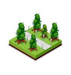 Park road and trees isometric 3d icon vector