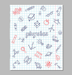 Physics sketch icons set vector