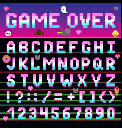 Pixel retro font computer game design 8-16 bit vector