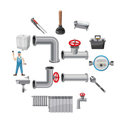 plumber items icons set cartoon style vector image