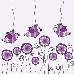 Purple bird and flower vector