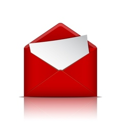 Red open envelope with paper vector image