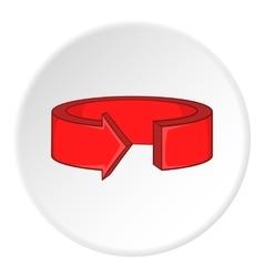 Red round arrow icon cartoon style vector image