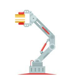 Robot hand mechanical arm assembly line crane vector