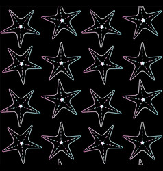 seamless pattern holographic star fish on black vector image