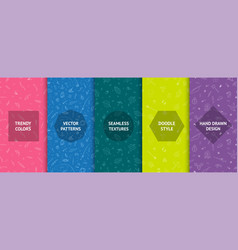 set colorful seamless hand drawn patterns in vector image