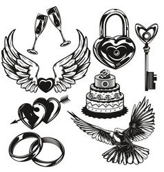 Set love and wedding elements vector