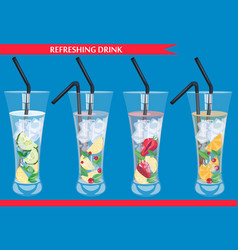 set of refreshing drinks vector image