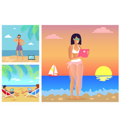 Set of summer time banners vector