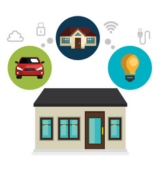 smart home technology set icons vector image