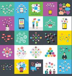 Social networking and banners flat vector