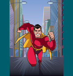 superhero running in city vector image