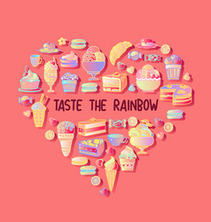 taste the rainbow sweetest day card vector image
