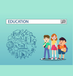 Three students with education search engine bar vector
