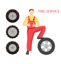 tire service poster with man vector image