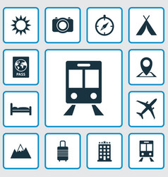 Traveling icons set collection of suitcase mount vector
