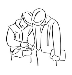 two engineer worker with hard hat looking a paper vector image