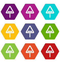 Uneven triangular road sign icon set color vector