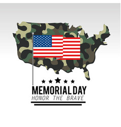 usa flag with military camouflage map vector image