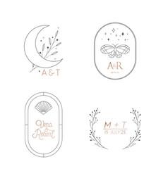 wedding monogram elegant collection modern vector image