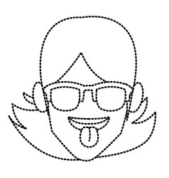 woman with sunglasses and tongue out vector image