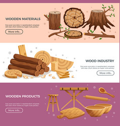 Wood industry banners vector
