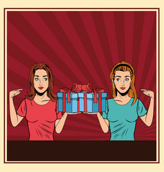 Young women with a gift box pop art vector