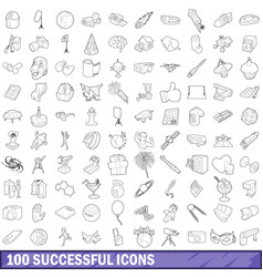 100 successful icons set outline style vector image