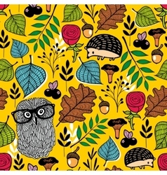 Endless pattern with forest flora and fauna vector image