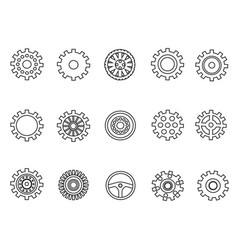 gears outline icons set vector image vector image