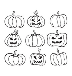 halloween pumpkin comic set cartoon collection vector image vector image