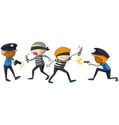 Policeman and criminal fighting vector