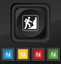 rock climbing icon symbol Set of five colorful vector image