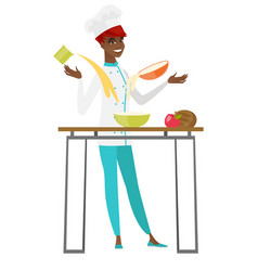 young african-american chef cook preparing food vector image