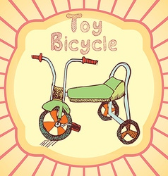 Cartoon Toy bicycle colored hand drawn sketch vector image